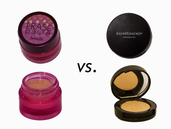 The Concealer Wars....Benefit Erase Paste vs. BareMinerals Correcting Concealer - Glam and Uncensored
