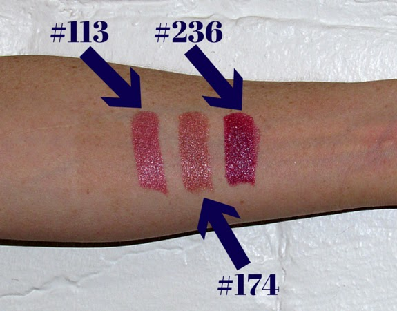 Inglot Lipstick Swatches #113, #174 and #236