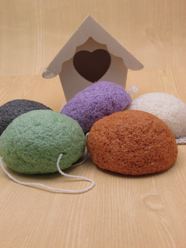 Konjac Sponge in Lavender, Green, Red, White, and Charcoal